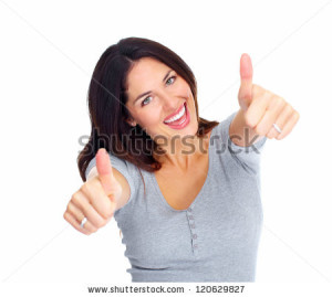 Happy Woman Giving A thumbs up